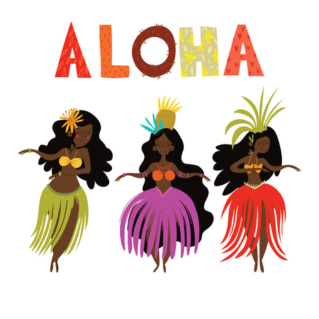 Illustration for Aloha Hawaii card with Hawaiian Hula girls .Cartoon vector illustration. Design concept for flyer, poster or greeting card - Royalty Free Image