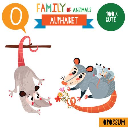 Illustration pour Letter O-Mega big set.Cute vector alphabet with family of animals in cartoon style. - image libre de droit
