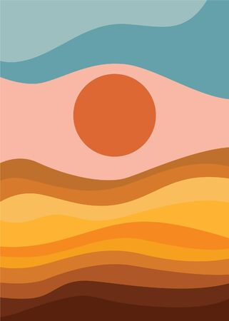 Illustration pour Colorful background with landscape, abstract mountains. Abstract colored backdrop with hand-drawn elements or curves. Creative vector illustration - poster design. - image libre de droit