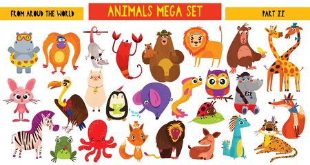 Illustration pour Big collection of cute cartoon animals around the world. Part II. Set of wild and woodland animals characters isolated on white background. - image libre de droit