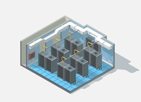 Ilustración de isometric low poly bit coin cryptocurrency mining block chain data center cutaway icon. Computer Administration room includes server and cables - Imagen libre de derechos