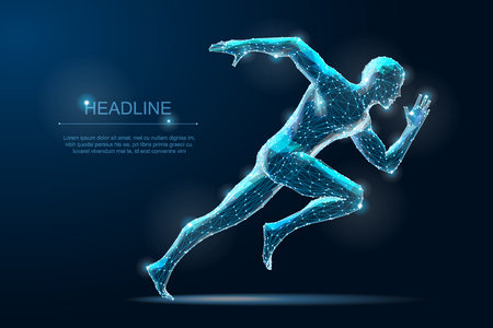 Illustration for Geometric running man plygonal 3d Wireframe. Speed sport - Royalty Free Image