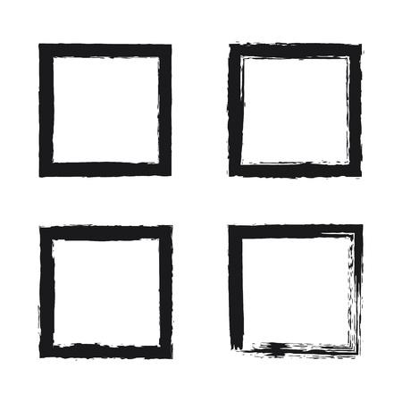 Illustration pour Black brush strokes square frame. Hand drawn grunge brush, rectangle border on white. illustration set - image libre de droit