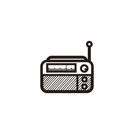 Illustration pour classic square radio silhouette style - black and white vintage square radio tuner - vintage classic square radio silhouette isolated on white - image libre de droit