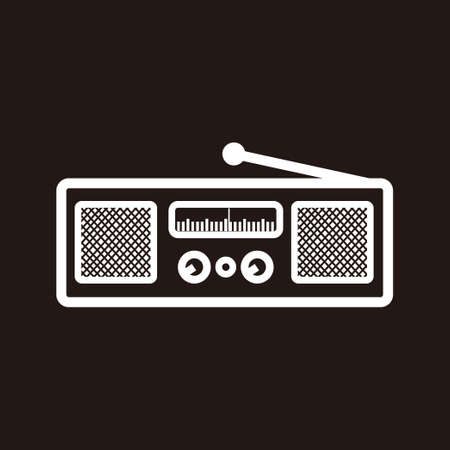 Illustration pour silhouette of classic square radio style with two speaker - black and white vintage square radio tuner with two speaker - vintage classic square radio silhouette with two speaker isolated on black - image libre de droit