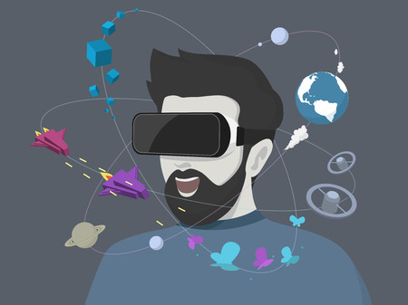 Illustration pour Man using the virtual reality headset. Vector illustration. - image libre de droit