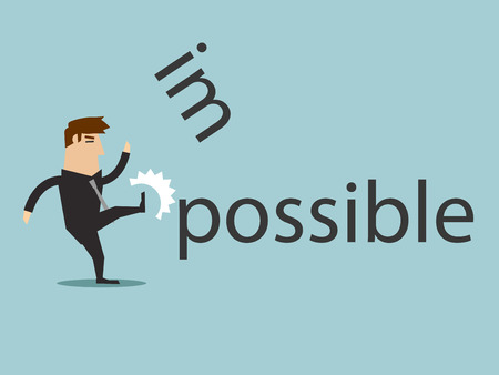 Illustration pour Changing the word impossible to possible by kick, vector graphic - image libre de droit