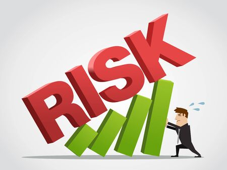 Illustration pour Businessman bears the growth chart  from risk. Concept vector illustration - image libre de droit