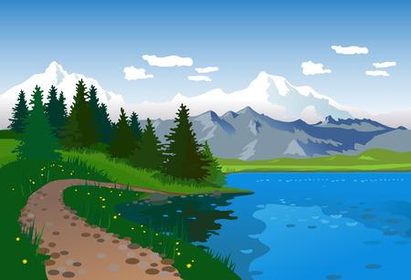 Illustration pour Landscape with lake, road and mountains - image libre de droit