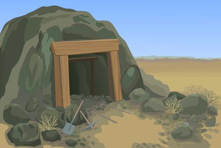 Old mine desert landscape vector illustration