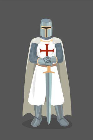 Illustration pour Vector Illustration Of Templar Knight With Sword - image libre de droit