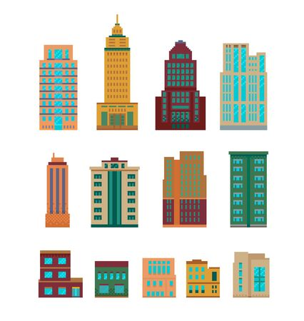 Illustration for Pixel art set of modern various buildings - Royalty Free Image