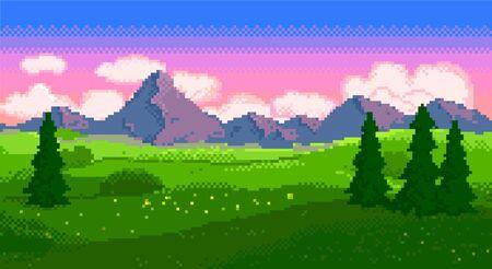 Illustration pour Pixel sunset landscape with fields and mountains - image libre de droit