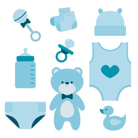 Illustration for Baby boy elements set - Royalty Free Image