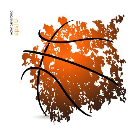 Ilustración de vector illustration with a basketball, basketball game, grunge style (cover, flyer, poster) - Imagen libre de derechos