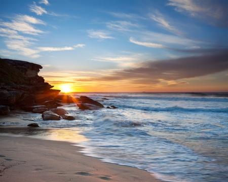 Beach Sunrise and Rushing Waves