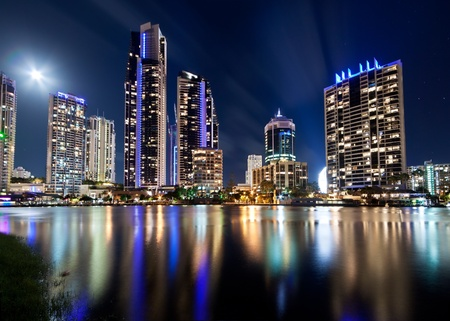 australian modern city at night (gold coast) queensland