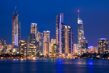 view on surfers paradise at night (gold coast qld australia)