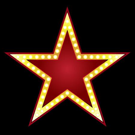 Symbol of big red star on black background