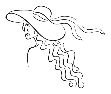 Elegance woman with long hair in hat