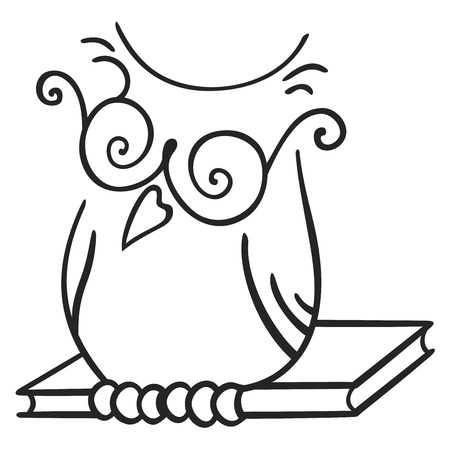 Illustration of owl seating on the book