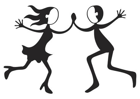 Illustration of boy and girl dancing crazy steps