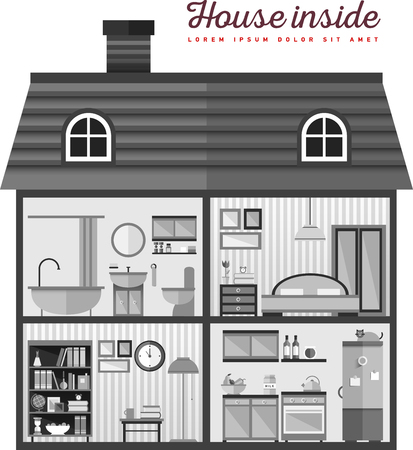 Illustration pour Flat illustration of house in cut - image libre de droit