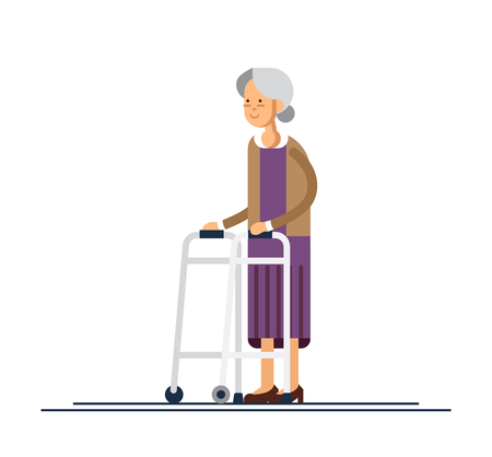 Grandmother walking using a walker. Vector illustration