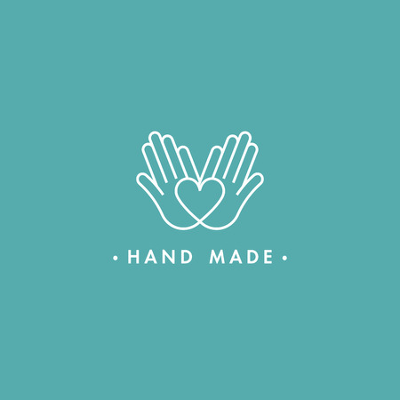 Illustration pour Vector hand made labels and badges in linear trendy style - hand made - image libre de droit