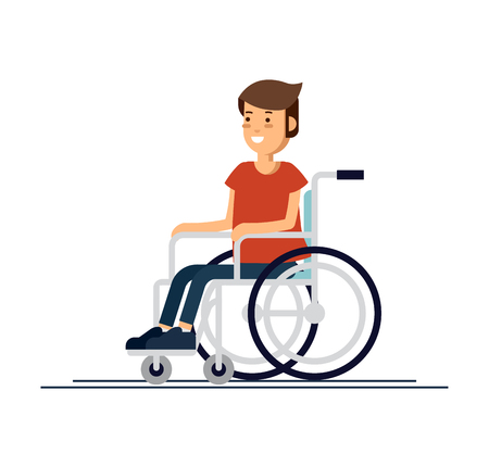 Illustrazione per Cute disabled boy kid sitting in a wheelchair. Handicapped person. Flat style cartoon vector illustration. - Immagini Royalty Free