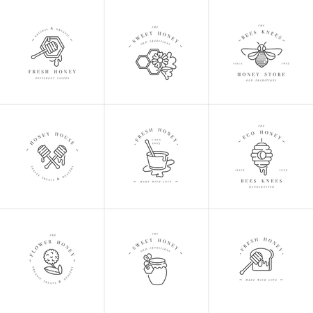 Ilustración de Vector set illustartion logos and design templates or badges. Organic and eco honey labels and tags with bees. Linear style. - Imagen libre de derechos