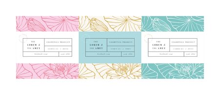 Ilustración de Vector set patterns for cosmetics with label template design. Patterns or wrapping paper for package and beauty salons. Lotus flowers. Organic, natural cosmetic - Imagen libre de derechos