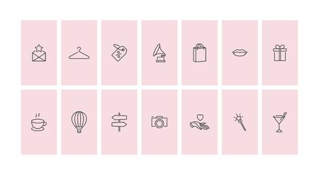 Illustration pour Vector set design colorful templates icons and emblems - social media story highlight. Different blogger icons in trendy linear style isolated on white background - image libre de droit