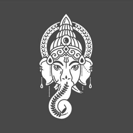Illustration pour Vector linear illustration of indian god religion symbol elephant Ganesh on grey background - image libre de droit