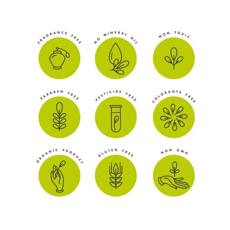Illustration pour Vector set of  badges and icons for natural and organic products. Eco safe sign design. Collection symbol of healthy products - image libre de droit
