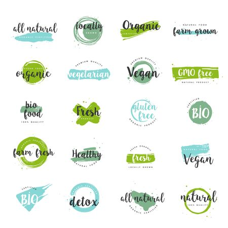 Illustration for Organic food, farm fresh and natural product icons and elements collection for food market, ecommerce, organic products promotion, healthy life and premium quality food and drink. - Royalty Free Image