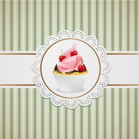 Cupcake with pink creme on lace and striped table cloth.