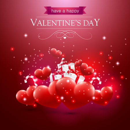 Illustration pour Valentines day card with hearts presents and sparkles on red background - image libre de droit