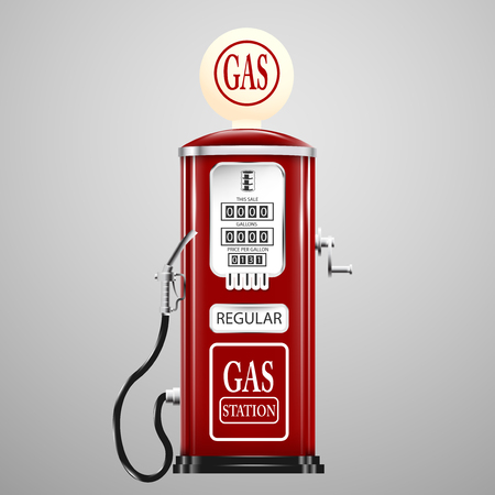 Illustration for Red isolated retro gas pump. - Royalty Free Image
