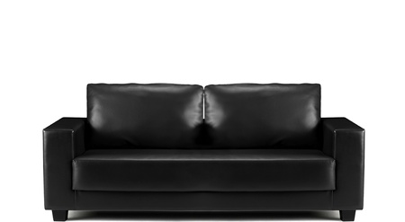 modern black leather sofa isolated