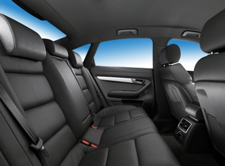 car interior, passenger places with leather close up