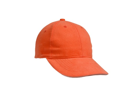 New Orange Baseball Cap isolated on white backgroundの写真素材