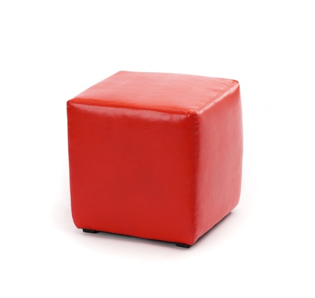 red leather foot stool ottoman