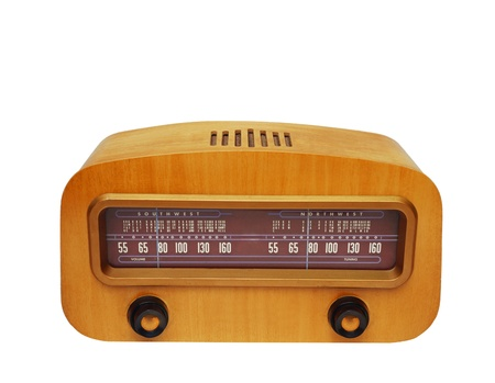 Vintage fashioned radio isolated on white background