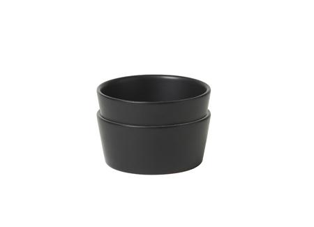 Black jam dishes isolated on white