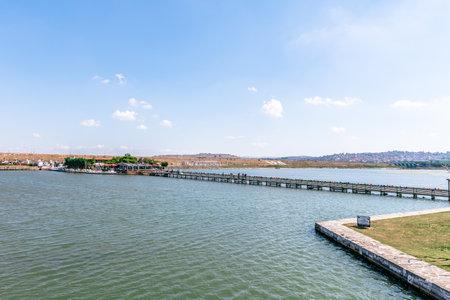 View of Kucukcekmece Mimar Sinan(Architect Sinan)Bridge which was built by Ottoman Architecture Mimar Sinan (Architect Sinan).TURKEY, ISTANBUL,30 JULY 2017