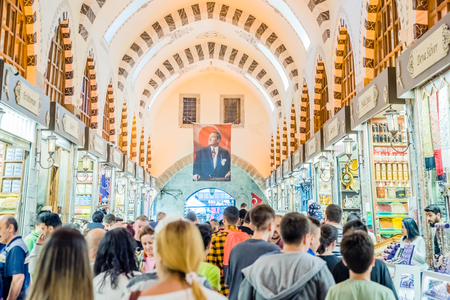 Unidentified people walk in Spice or Egyptian Bazaar,a famous covered shopping complex in Istanbul,Turkey.29 April 2018