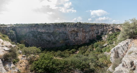 High resolution panoramic Aerial interior view of the Chasm of Heaven located in Silifke district, Mersin Turkey.