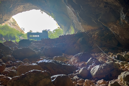 View of Virgin Mary Church built by St. Paulus from inside of cave of Chasm of Heaven in Silifke district.Mersin Turkey