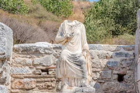 Marble  statue Ruins in Ephesus historical ancient city, in Selcuk,Izmir,Turkey.